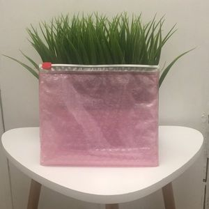 Two Glossier Ziplock Pink Pouches
